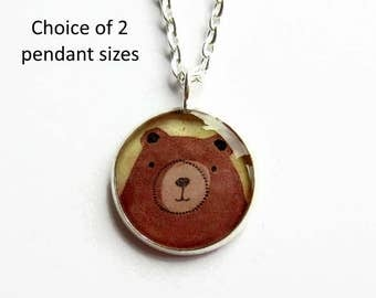 Brown Bear Necklace, Grizzly Bear Pendant, Animal Art Jewellery, Cute Gift for Her, Resin Jewelry, Small Pendant, 18mm, UK Seller