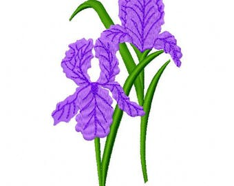 Iris Embroidery Design - Instant Download