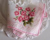Wedding Handkerchief Mother of the Bride Gift, Vintage Pink Roses Happy Tears Hanky, Bridal Shower Gift