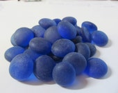 Frosted Cobalt Blue Assorted Gems, Nuggets, Flat Backed, 30ct. - Beach Glass Finish - Smaller Project Package