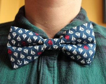 Tiny ships and anchors bowtie / bow tie - blue, red, white, nautical, boats, sailor