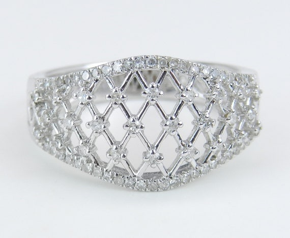 Diamond Cluster Anniversary Band Filigree Lattice Wedding Ring 14K White Gold Size 7