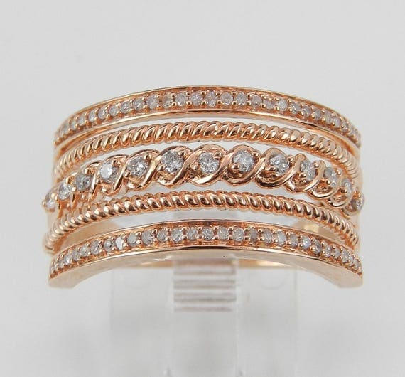 Diamond Multi Row Cluster Right Hand Cocktail Wedding Ring Rose Gold Band Size 7