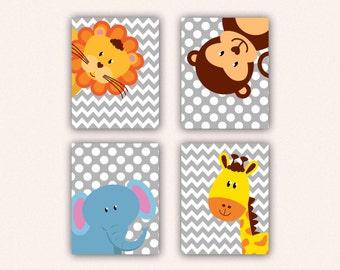 Jungle Animal Nursery Print Set - Elephant Monkey Giraffe Lion Kids Bedroom Art, Chevron and Polka Dot Safari Decor in Light Gray (5008)