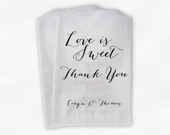 Love Is Sweet Our Day Complete Wedding Candy Buffet Treat Bags - Handwritten Look Favor Bags in Black and Blush - Custom Paper Bags (0169)
