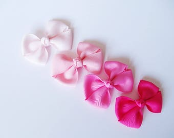 Pink Small Hair Bows - One Size Nylon Headbands - Mini Pig Tail Bow Hair Clips - Satin or Grosgrain - You Pick Color