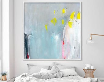 "Giclee print of abstract painting extra large wall art up to 40x40"" large wall art canvas art blue yellow grey"