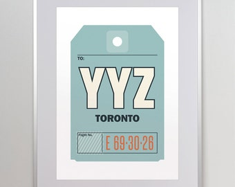 Toronto, Ontario, Canada, YYZ. Luggage Tag Poster. Baggage Tag Print. Travel Poster. Airport Code. Typographic Print.