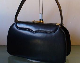 Vintage Dofan French Navy Blue  Handbag Made in France