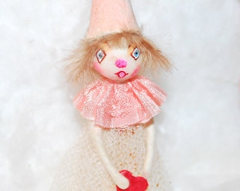 spun cotton princess ornament 'just a girl with a heart' Christmas  Valentine OOAK vintage craft by jejeMae