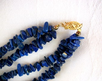 Vintage Lapis Chip Double Strand Necklace 14k Gold Fastener - Beautiful Blue