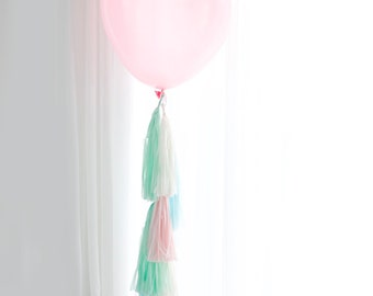 Tassel Tail for giant Balloon - only tail - custom colors - FULLY ASSEMBLED- Party Decor, Party, Weddings, balloon tails