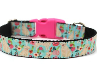 """Golden Retriever Dog Collar 1"""" Floral Dog Collar"""