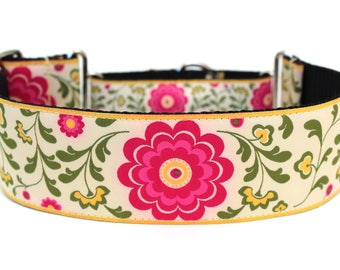 "Flower Dog Collar 2"" wide Martingale Dog Collar for Large Breed Dogs"