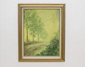 RESERVED: Vintage Art, Acrylic Impressionist Painting, Green Landscape, Decor