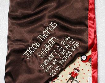 Baby Blanket, Minky blanket, sock monkey, sock monkey minky, brown and red blanket, Embroidered Blanket, personalized blanket, baby boy