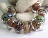 Encased Silver Glass Orphans, Lampwork Beads, SRA, UK
