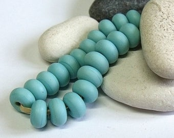 Etched Light Turquoise, Lampwork Spacer Beads, SRA, UK