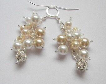 Bridal Earrings, White and Beige Dangling Pearl Cluster Earrings, Pearl Earrings with Crystal Fireball Beads, Pearl Cluster Wedding Earrings