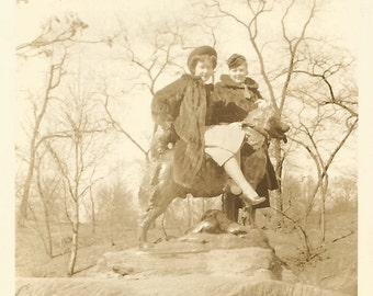 "Vintage Snapshot ""Riding Balto"" Central Park New York City Sculpture Husky Dog Frederick Roth Found Vernacular Photo"