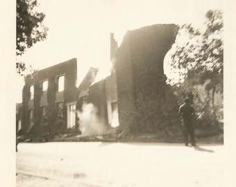 """Vintage Snapshot """"Make Way For The New"""" Brick Building Implodes Found Vernacular Photo"""