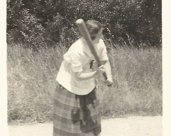 "Vintage Snapshot ""Batter Up!"" Baseball Bat Woman Wearing Plaid Skirt Home Plate Softball Found Vernacular Photo"