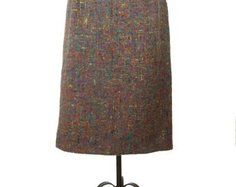 1960s Pencil Skirt // Brown and Multi Color Wool Pencil Skirt