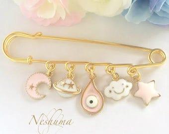 Evil Eye Baby Pin, Baby Safety Pin, Good Luck Baby Brooch, Newborn Baby Gift, Newborn Girl Gift, Mom Gift, Stroller Pin, Baby Jewelry