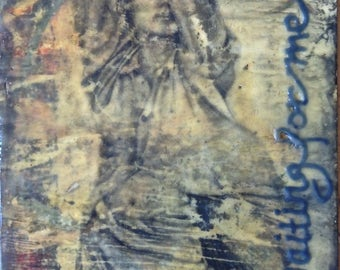 Encaustic Mixed Media Original Small Art Waiting For Me Lonely Lady Black Gray Blue 6 x 6