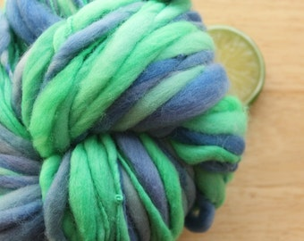 Game Day - Handspun Wool Yarn Blue Green Thick and Thin Skein