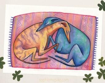 Hugs A5 Print Greyhound