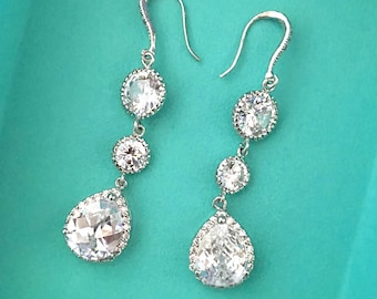 Silver Bridal Earrings, Wedding Cubic Zirconia Earrings, Diamond Crystal Earrings, Long Dangle Earrings for Bride
