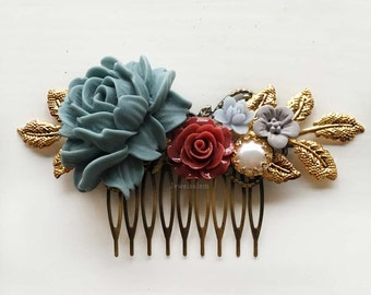 Wedding Hair Comb, Gray, Blue, Cranberry Red, Marsala, Gold Leaves, Pearl, Bridal Hair Pin, Flower Hair Slide, Bride, Bridesmaids, Autumn