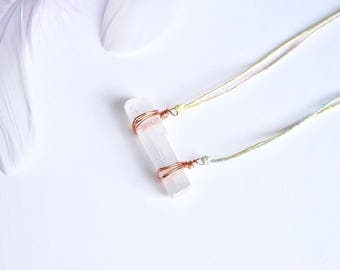 Selenite bar necklace ~ rose gold copper hygge folk boho bohemian gemstone crystal healing jewellery mermaid unicorn unique aura chakras