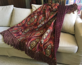 Burgundy Wine Throw Blanket Moroccan Tapestry Bohemian Design Decorator Bedding, Wall Hanging Art Egyptian Medallion, Luxurious Sofa Cover