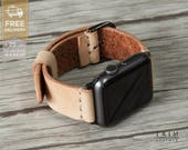 Apple Watch Band Leather Watch Band Minimal in Original Natural Vegetable Tanned 38mm 42mm Series 1 2 [Handmade] [Custom Colors]