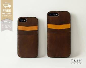 iPhone 7 Leather Case iPhone 7 Plus Card Case Bumper Cover [Handmade] [Custom Colors]