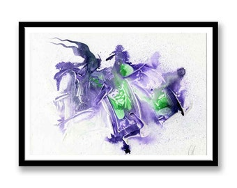 Purple and Green abstract // Original one of a kind art work // Abstract Ink Painting // Wall Art // Office Art // Corporate Art