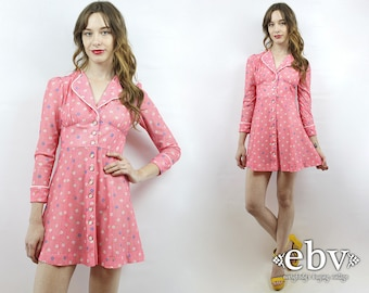 Babydoll Dress Dolly Dress Vintage 70s Pink Floral Puff Sleeve Mini Dress XS S Lolita Dress Pink Dress Puff Sleeve Dress 1970s Dress