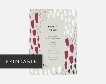 Simple Modern Invite Printable / Party Invitations / Bold Pattern / Pink / Adult Birthday Party, Graduation Party, Housewarming
