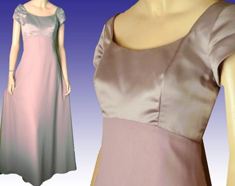 Vntg Lilac Gown Bust 37 HOUSE of BIANCHI Prom Bridesmaid Satin Chiffon Empire Dress UNWORN