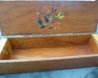 Folk Art Vintage Wooden Box Tole Painting Pennsylvania Dutch