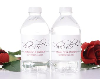 """We Do Wedding Water Bottle Labels - Elegant Wedding Favors - Need a different quantity? Click on the """"choose total"""" tab to see pricing"""