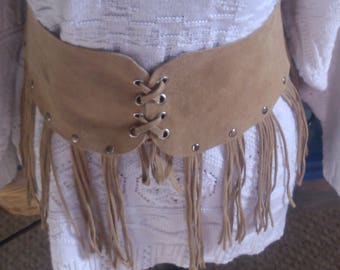 Suede Tassled Belt w Leather Back Tie
