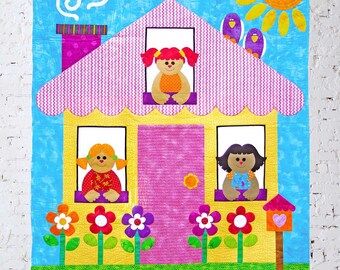 OUR HOUSE | pdf Quilt Pattern | Patterns | Quilts | Kids Quilts | Dollhouse Quilts | Applique Quilts | Happy Quilts | Wall Hanging