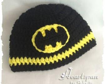 Crocheted Batman Hat, Multiple Sizes. Newborn, baby, toddler, child, teen, adult. Baby hat, batman hat, beanie hat, batman cap, boys, girls