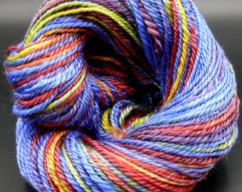 Vegan Rainbow Navajo Ply Bamboo/Silk/Rose/Banana/Nylon handspun yarn - Self Striping