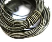 1mm Round Natural Leather cord - Vintage Khaki Green - 10 feet, LC038