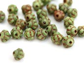 30pc Fancy Bicone beads, Green with Picasso finish glass spacer beads - 6mm - 2938