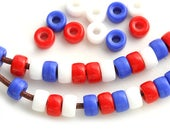 6mm Pony beads mix in Blue, Red, White, Czech glass Roller beads, 2mm hole, patriotic colors - 50pc - 1495